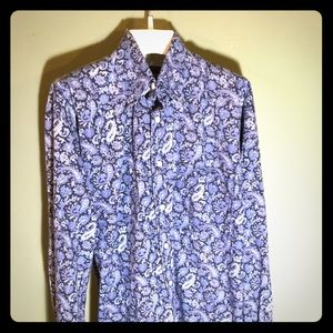 Alan Flusser Large blue paisley all-cotton lngslve